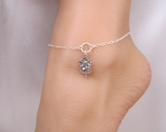 Daisy Flower Silver Ankle Bracelet Anklet, Add the Optional Toe Ring and Chain for a completely different look
