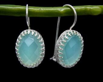 aqua dangle earrings,chalcedony earrings,delicate earrings,everyday earrings,simple stone earrings