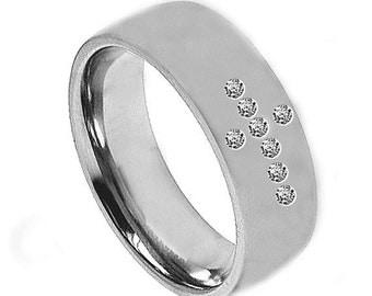 Cross Ring, Popular Item,Diamond Cross Band, White Gold Wedding Band, Religious Diamond Ring, Christmas Gift,  Wedding Band, 8MM Comfort-fit