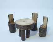Table For Three Fairy Garden Decor, Rustic Miniature Table and Chairs Set, Fairy Garden