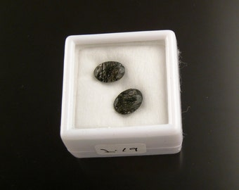 Two Tourmalated Quartz faceted 5x7mm ovals loose gemstones parcel 219