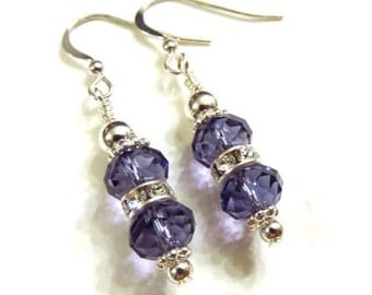 Purple Swarovski Crystal Earrings, Purple Earrings, Purple and Silver Earrings