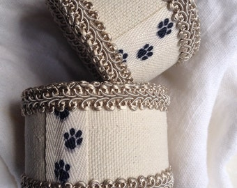 Dog Paw Print Napkin Ring Hand Crafted Black Pawprint Cuffs Handcrafted Cat Animal Pet Lovers Gift - #67
