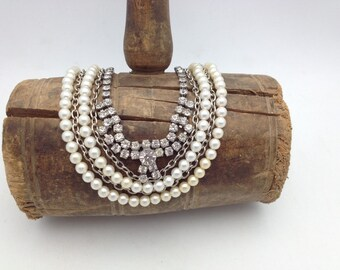 Pearl and Rhinestone Necklace Vintage Assemblage Necklace Layered Necklace