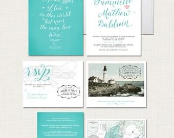 Destination wedding invitation Portland Maine Wedding Invitation Suite - coastal wedding lighthouse and vintage map - Deposit Payment