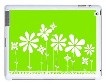 iPad 2/3/4 - iPad Mini - snap on plastic case - White Flowers