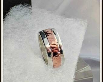 Handmade Sterling silver and copper inlay ring band Your size