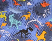 Blue Dinosaur Crib or Toddler Bed Fitted Sheet
