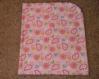 Pink Paisley Bird Receiving Blanket