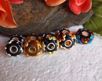 27  Murano Glass Beads With Raised Embellishments