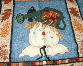 Cotton Fabric Halloween Vest w\Lining, Cut & Ready to Sew, Plus Size, Scarecrow, Pumpkins, w/Fall Leaves Lining
