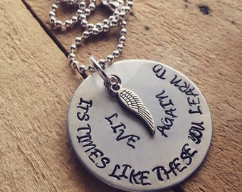 Hand Stamped Aluminum 1.5 Inch Pendant Necklace with Foo Fighters Lyrics