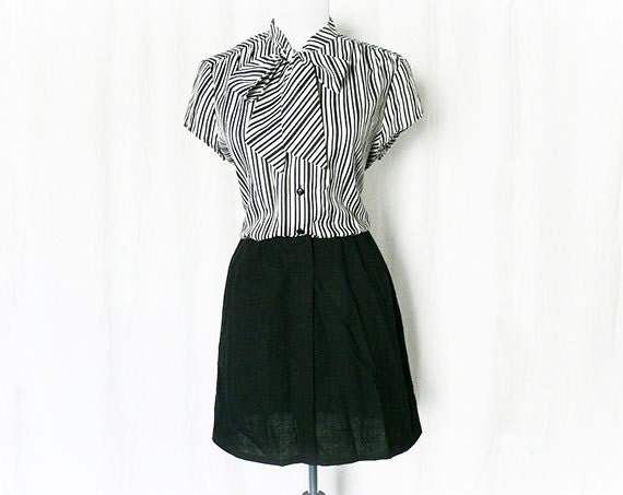 Vintage 70s Mini Dress S M Black White Striped Bow Collar Upcycled Color Block