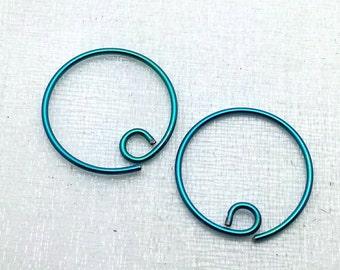 Niobium Hoop Earrings - Niobium wire earrings - Niobium hoops - nickel free - niobium earrings - blue niobium - purple niobium - small hoops