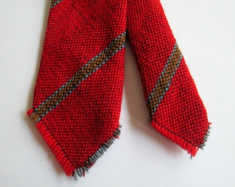 1940s 1950s Red Woven Necktie / Wool Tie  El Denver Los Wigwam Weavers Stackpole Moore Tryon