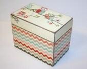 Owl and Chevron Recipe Box, Teal and Coral Box, 4x6 Wooden Recipe Box, Address File, Girls Keepsake Box, Owl Nursery