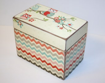 Owl and Chevron Recipe Box, Teal and Coral Box, 4x6 Wooden Recipe Box, Address File, Girls Keepsake Box, Owl Nursery