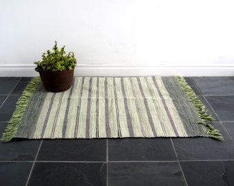 Vintage Woven Rug - Handwoven Floor / Area Rug - Rustic Rag Rug - Throw Rug for Bathroom or Entryway