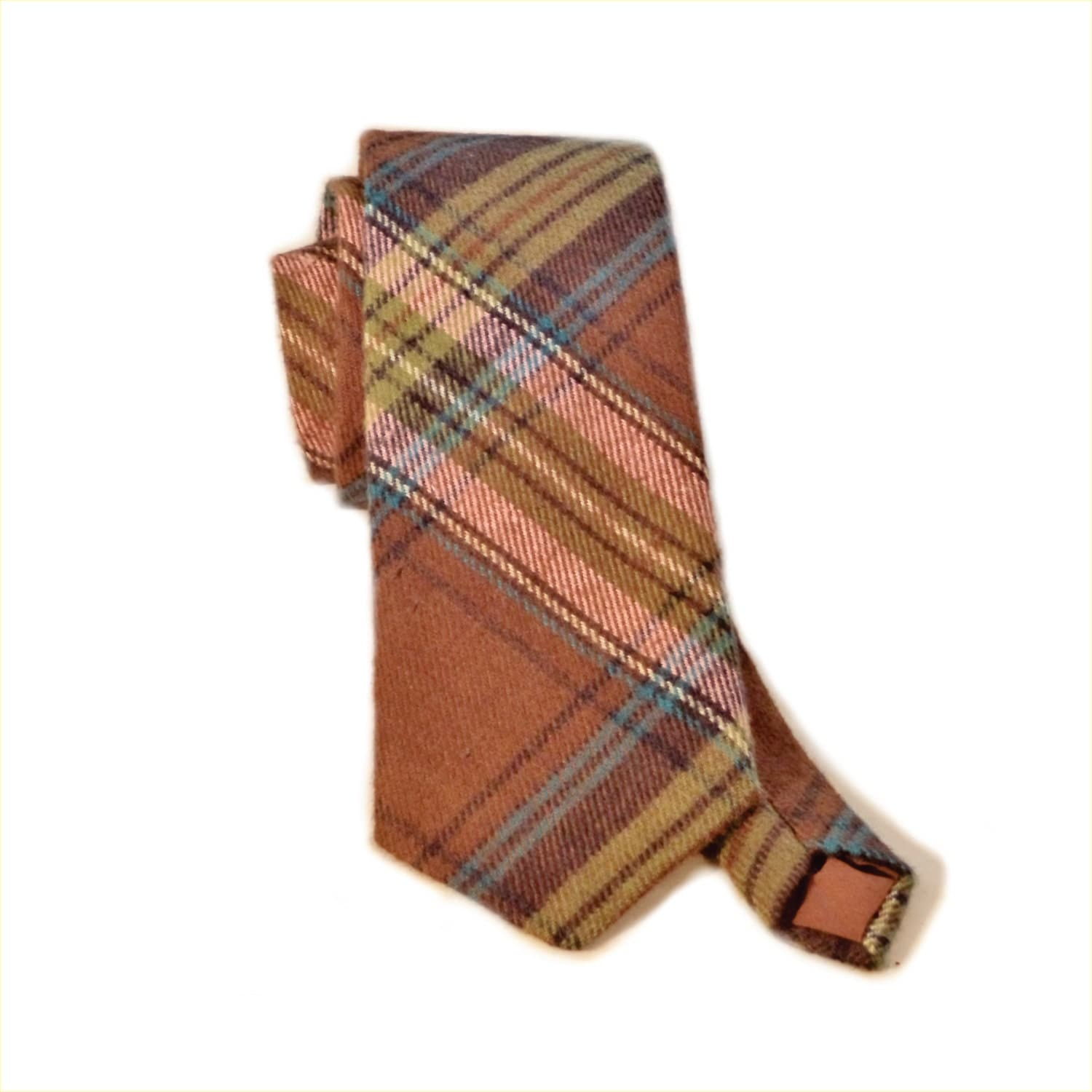 plaid flannel necktie brown plaid tie by pearlbeachtreasures. Black Bedroom Furniture Sets. Home Design Ideas