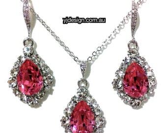 Pink Bridal Jewelry Set, Teardrop Earrings, Swarovski Crystal Necklace, Bridesmaid Jewelry, BIJOUX