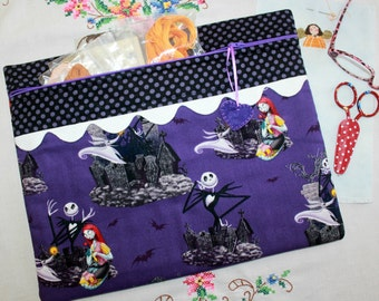 Jack Skellington Nightmare Before Christmas Cross Stitch, Sewing, Embroidery Project Bag