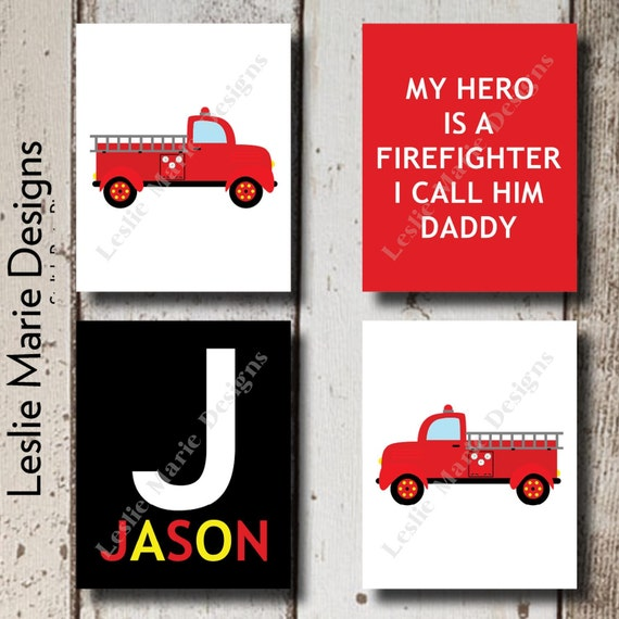 Firefighter Baby Boy Nursery Wall Art Nursery Prints