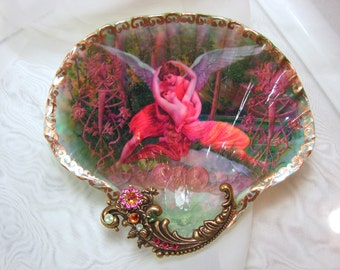 Victorian Angels Large Shell Jewelry Dish Trinket Dish