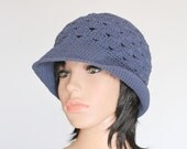 Blue Gray Knit Winter Cap, Handmade Cloche Hat, Crocheted Page Boy Cap