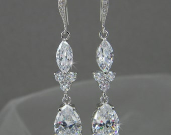 Dangle Crystal Bridal Earrings Wedding earrings Long Bridal earrings Bridesmaids Wedding Jewelry,  Rachael Earrings