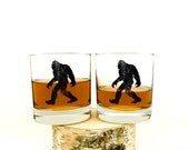 Bigfoot Whiskey Glasses - Set of Two Small Tumblers - Bigfoot Scotch Glasses