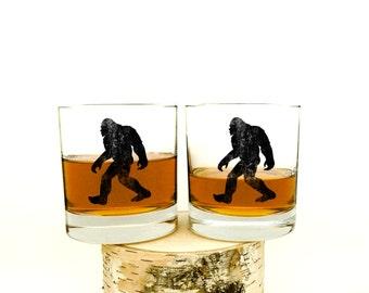 Bigfoot Whiskey Glasses - Set of Two Small Tumblers - Bigfoot Scotch Glasses