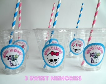 Set of 24- Monster High Party Cups, Lids & Straws