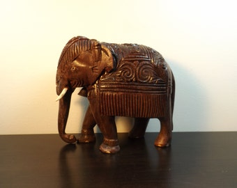 Vintage hand Carved Wooden Elephant  Wooden Animal Statue Indian  figurine Indian animal Exotic Animal Indian Art Hand Carved Wood Gift