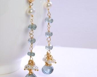 Aquamarine, Pearl Dangle by Agusha. Moss Aquamarine, White Pearl Cluster Dangle. Gemstone Gold Filled Post Earrings