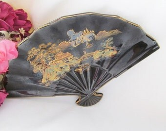 Asian Oriental Ceramic Fan Dish / Tray Made in Japan Black with Gold Trim