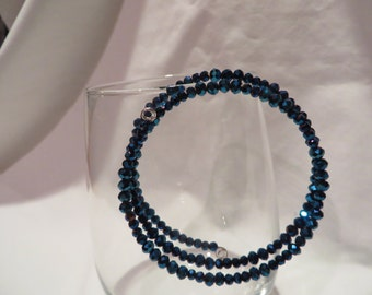 Blue Crystal Beaded Bracelet on Memory Wire, bracelet, blue, crystal, memory wire