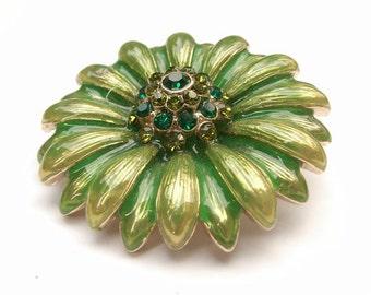 Vintage 1960's Mod Flower Brooch, Monet Brooch, Daisy brooch, Green enamel brooch, Costume Jewelry, Flower power, Mod Jewelry, retro brooch