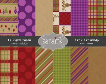 Instant Download Digital Backgrounds and Papers - for Personal and Commercial Use - Coordinates with Merry Moose Clipart
