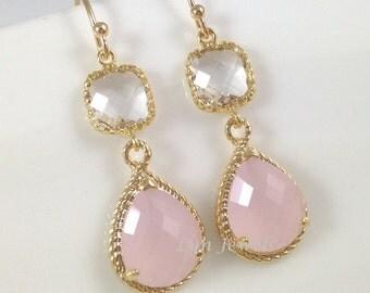 Pink Opal Earrings - Long Gold Blush Pink Bridesmaids Earrings Teardrop Clear Square Glass Teardrop Dangle Earrings