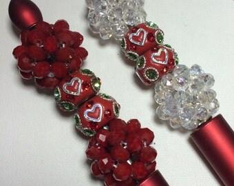 Handmade bling beaded pens Mother's Day gift bling pens red pens valentines day gift