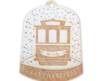 Wooden Ornament San Francisco Trolley in Snow Globe