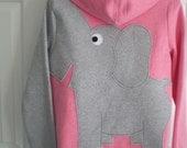 Elephant sweatshirt, zip front with trunk sleeve. elephant Hoodie. elephant shirt, Pink heather with a grey elephant. Size ladies large