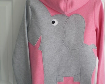 Elephant sweatshirt, zip front with trunk sleeve. elephant Hoodie. elephant shirt, Pink heather with a grey elephant. Size ladies large