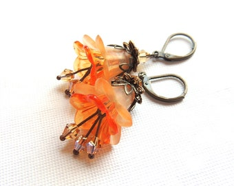 Orange Vintage Earrings. Frosted Lucite Flower Earrings. Antique Bronze Earrings. Handmade Earrings. Handcrafted Jewelry.