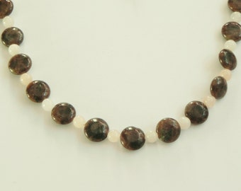 "Grey, gray labradorite and pink aventurine gemstone necklace, 20"" length, Handmade by Suzanne"
