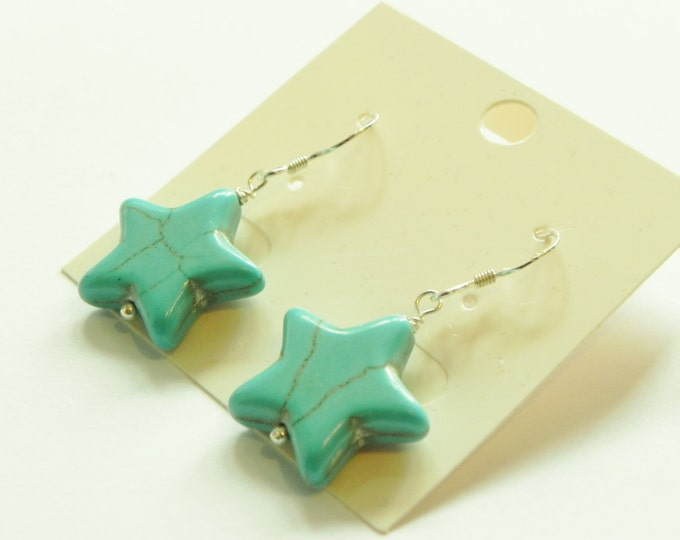 Turquoise star sterling silver earrings