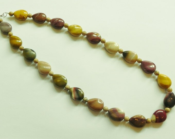 Chunky mookaite and jasper gemstone necklace, Cream, brown, pink, yellow