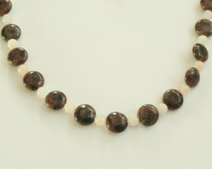"Grey, gray labradorite and pink aventurine gemstone necklace, 20"" length, Handmade by Suzanne"
