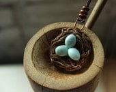 Nest Necklace with Eggs, Polymer clay Nest with Copper, Adjustable Cotton Cord
