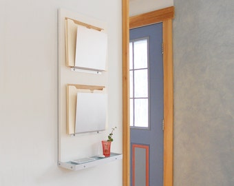 FILE ORGANIZER: with Shelf Wall Mount Modern Double Slot File Organization For Home Office or Family Organization